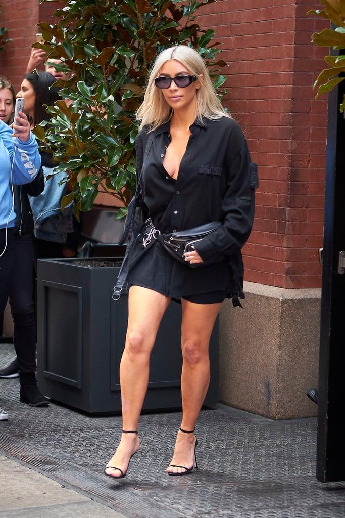kim kardashian wearing tiny sunglasses popsugar fashion