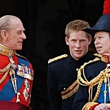 Pictured: Prince Philip, Prince Harry, Princess Anne.