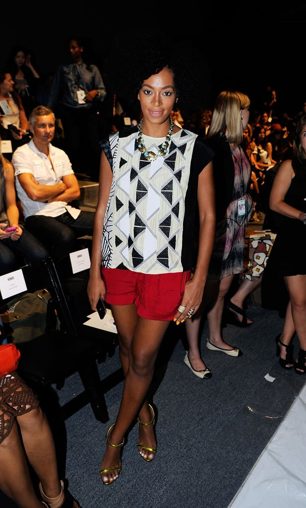 Solange Knowles rocked a graphic print at Boy and Girl by Band of Outsiders.