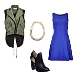 Add edge to your party dress by layering a utilitarian-style vest over it and adding a pair of cutout booties to further the cool-girl effect.   Get the look:  ASTR anorak vest ($82) Topshop cobalt dress ($40) Gogo Philip gold chain necklace ($34) Elizabeth and James black bootie ($325)