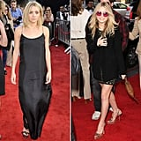 Twinning combo: For the LA premiere of The Hangover, the girls evoked a simplistic '60s vibe.   Ashley went minimalistic in a black slip dress and dual-strap sandals. Mary-Kate complemented her printed mini with rose-tinted sunglasses, a fringed bag, and python pumps.