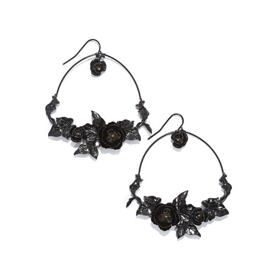 Rachel Roy Black Flower Hoop, $40