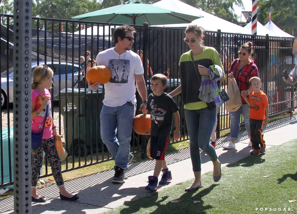 Mark Wahlberg and Rhea Durham bought pumpkins with their kids.