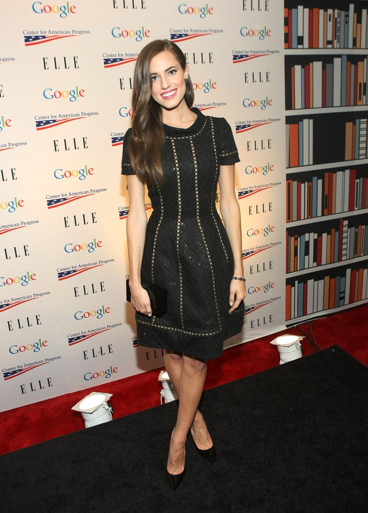 Girls star Allison Williams attended the Elle magazine and Google soiree in a gorgeous black fit-and-flare dress featuring a slick stitching detail.
