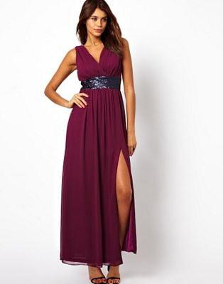 maroon ASOS gown