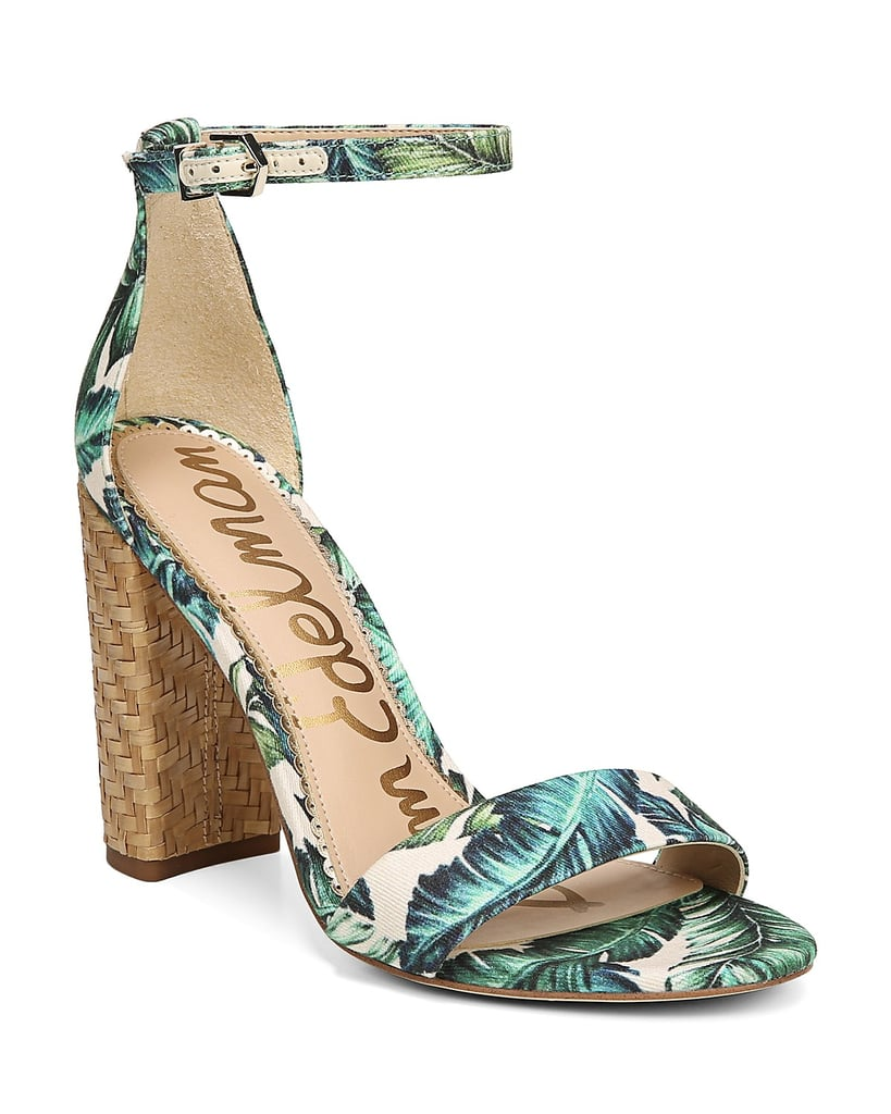 a886db79e77e Sam Edelman Yaro Palm Print Block Heel Sandals
