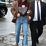 She Gave the 2-Toned Denim a Run and Showed Off Another Shearling Coat