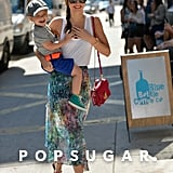 Miranda Kerr carried Flynn while in the Big Apple.