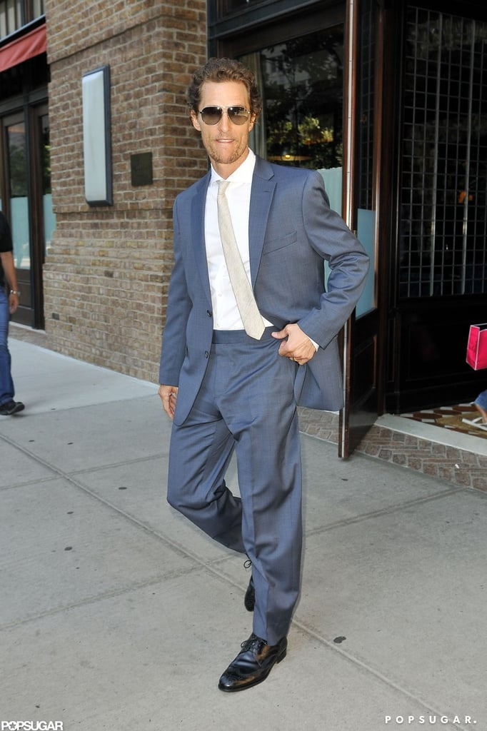 Matthew McConaughey smiled as he left his hotel in NYC.