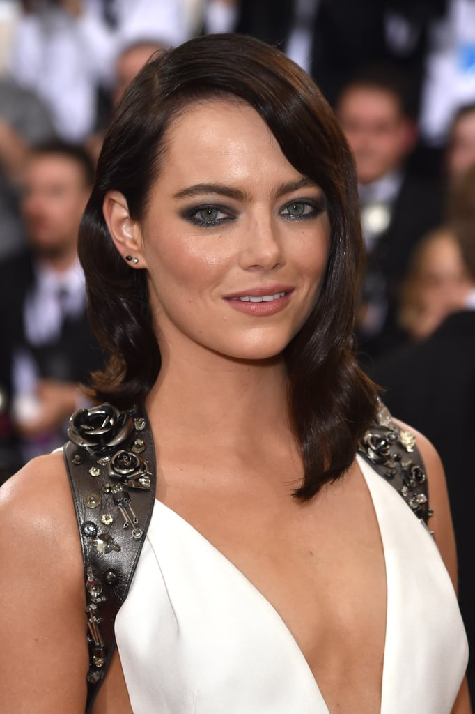 Emma Stone Is Brunette At The Met Gala 2016 Popsugar Beauty