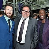 Pictured: Chris Evans, John Favreau, and Don Cheadle