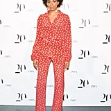 Solange Knowles wasn't afraid to show off her love of prints in a Diane von Furstenberg blouse and matching pants, completed with white pumps, at the Intermix 20th anniversary party in NYC.  Benjamin Lozovsky/BFAnyc.com