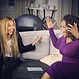 Beyoncé got excited with Oprah Winfrey. Source: Instagram user baddiebey