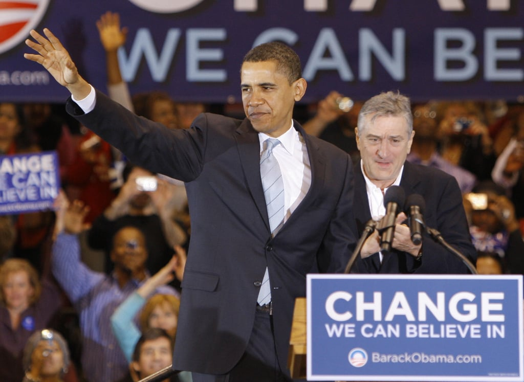 Robert DeNiro supported President Obama during a February 2008 rally in New Jersey.