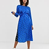 Asos Long Sleeve Midi Dress in Polka Dot
