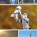 MemeCenter caught onto the genius blog of Kristina Alexanderson, who photographs scenes of Stormtrooper Legos in everyday familial situations. This touching photo montage portrays a Stormtrooper dad playing with his baby trooper.