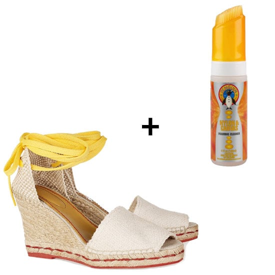Sole Salvation: Penguin Nylon & Canvas Foaming Cleanser ($7)  How to Use: Take your canvas slip-ons, wedges, or espadrilles (See by Chloé Ankle-Wrap Wedge Espadrilles, $250) and apply where needed. Then, brush clean with a hand towel, and . . .  that's it. It helps scrub away the dirt and keeps the fabric from cracking.
