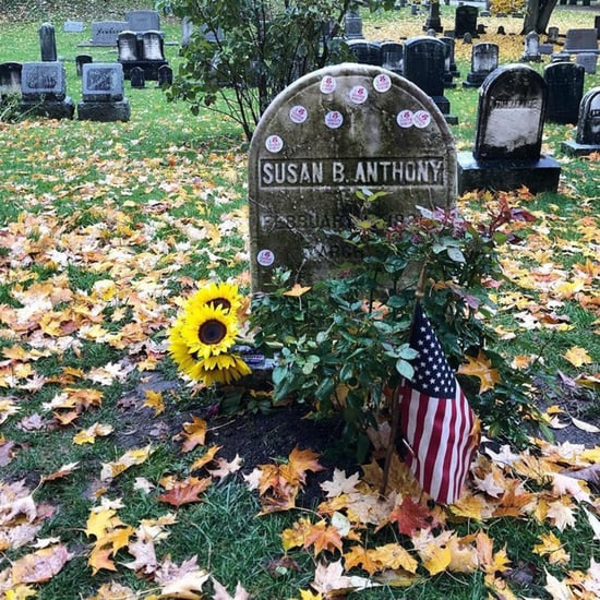 Women Leave Voting Stickers on Susan B. Anthony's Grave 2018