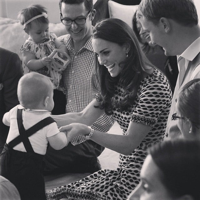 Kate shared a moment with Prince George during his group playdate in Wellington, New Zealand. Source: Instagram user clarencehouse