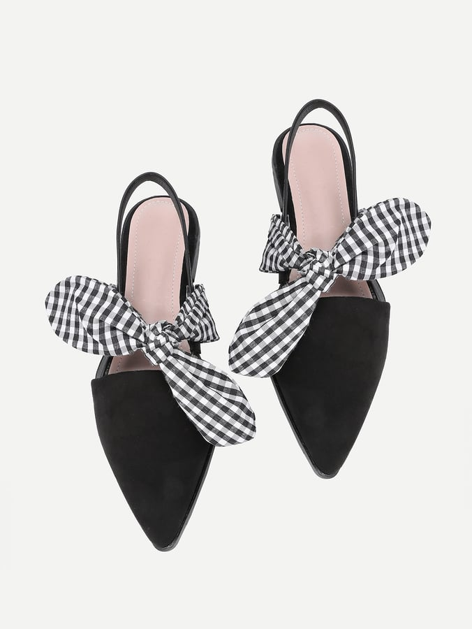 6b18623576 Shein Gingham Bow-Tie Pointed-Toe Flats | Best Shoes Spring 2018 ...