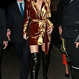 It Was All Gold and Leather For the Model as She Left Dover Street Market in London