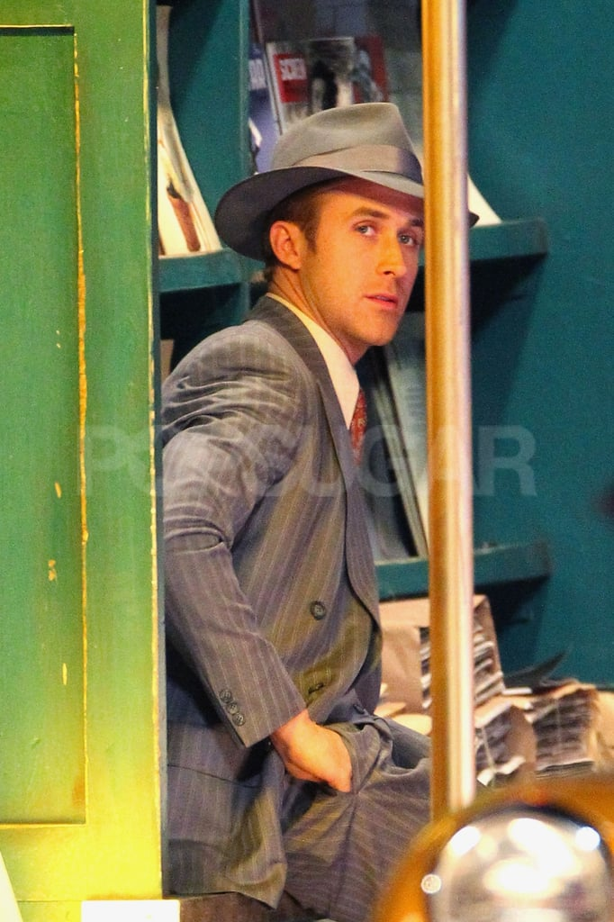 Ryan Gosling wore a pinstripe suit for Gangster Squad.