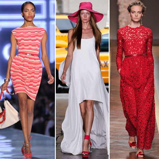 Red footwear took the Spring '12 catwalks as the perfect statement-making outfit finisher.  From left: Christian Dior, DKNY, and Valentino.