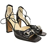 Gucci by Tom Ford Classic Black Python Open Toe Lace Up Sandals