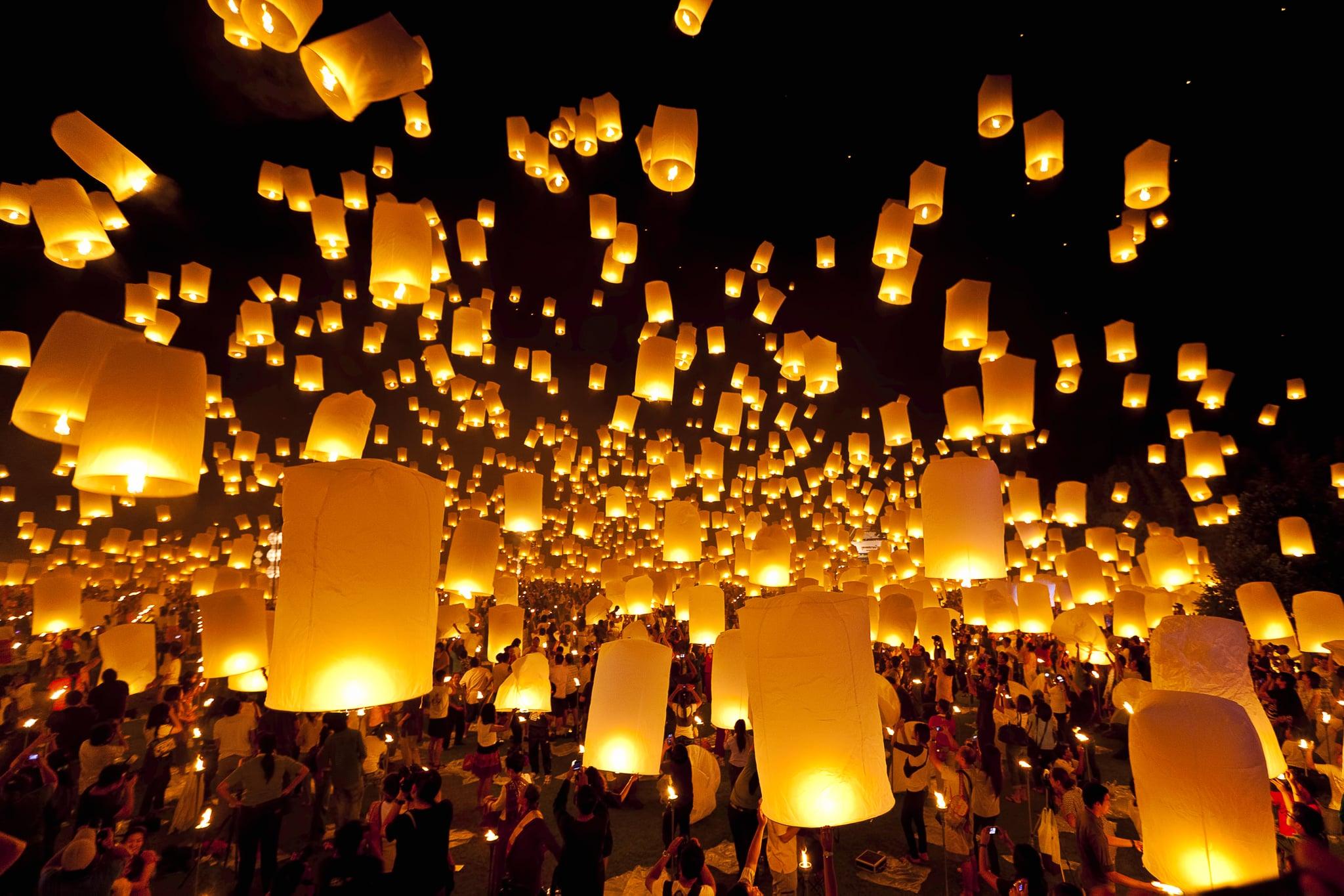 Floating Lantern Festival Thailand 83 Of The Most Beautiful Bucket List Destinations Around The World Popsugar Smart Living Photo 51