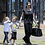 Angelina Jolie took the twins, Vivienne and Knox, shopping for Halloween supplies in Queensland on Oct. 26.