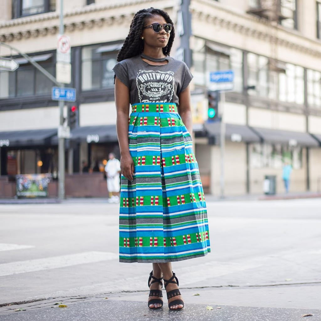 A Graphic T-Shirt, a Printed Midi Skirt, and a Pair of Heels