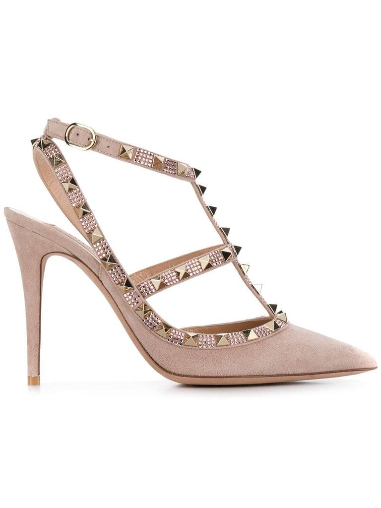 5c3745a547 Jennifer Lopez's Valentino Rockstud Heels and Trench Coat | POPSUGAR Fashion