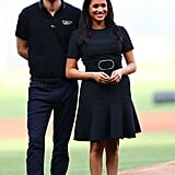 A Belted Dress and Flats at the Yankees vs. Red Sox Game in London in June 2019