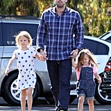 Ben Affleck held hands with Seraphina and Violet Affleck on the way to the farmers market in LA.