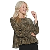 POPSUGAR Tiered-Sleeve Top in Leopard