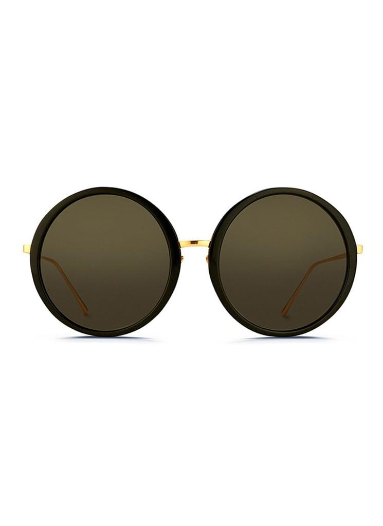Linda Farrow Oversize Round Titanium Sunglasses