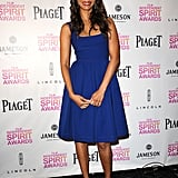 Zoe Saldana was a vision in blue fit-and-flare Preen, showing off the feminine fit at the Independent Spirit Awards nominations.