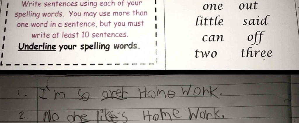 7-Year-Old Who Hates Homework Expertly Trolls His Teacher Through a Spelling Assignment