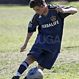 Brooklyn Beckham at a soccer game.