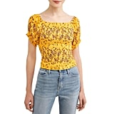 Self Esteem Floral Smocked Square Neck Puff Sleeve Blouse