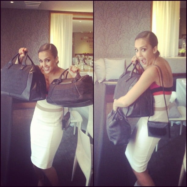 Jessica Alba made away with some handbags at the Narciso Rodriguez Resort presentation. Source: Instagram user jessicaalba