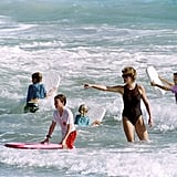 When she looked like a total Baywatch babe while still taking charge of the kids.