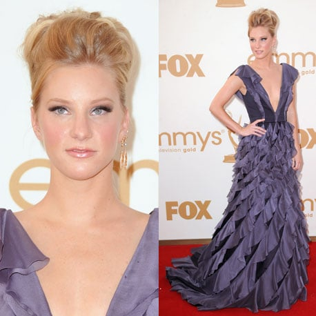 Pictures of Glee's Heather Morris in purple ruffled dress on the red carpet at the 2011 Emmy Awards