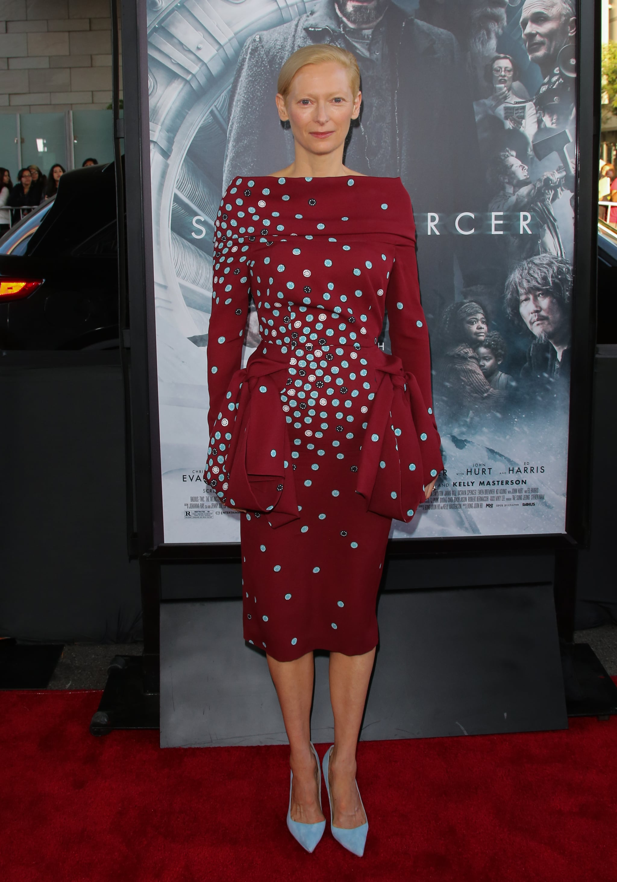 Tilda Swinton wore a red and blue number.