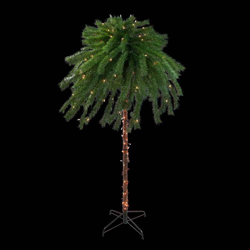 Northlight 6-Foot Clear Lights Artificial Christmas Palm Tree