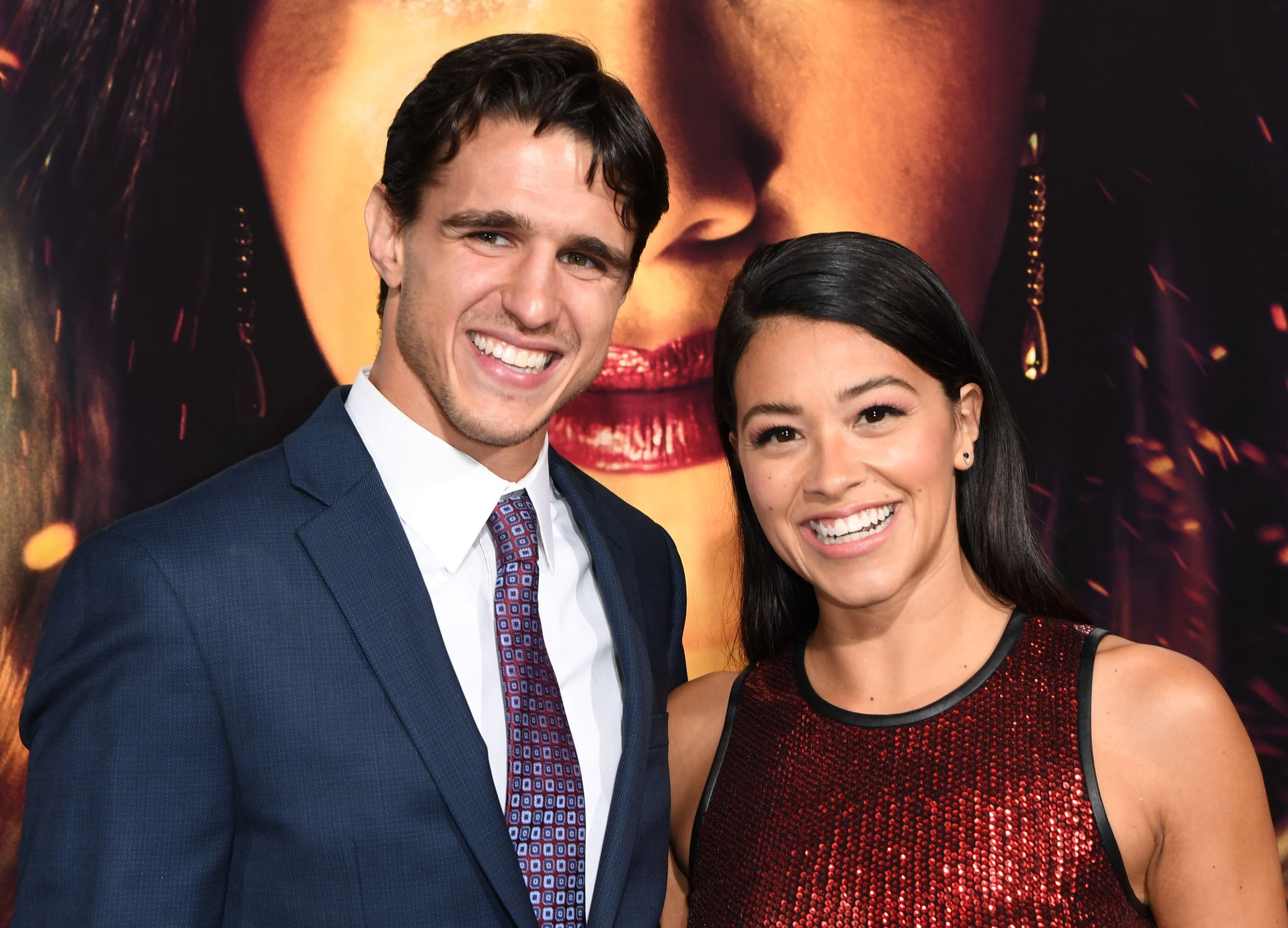 Actress Gina Rodriguez and fiance Joe Locicero arrive for the premiere of Columbia Pictures