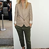At the Stella McCartney Spring 2011 NYC presentation, Gwyneth nailed casual-chic in cuffed Current/Elliott trousers and a Stella McCartney streamlined blazer and dual-tone pumps.