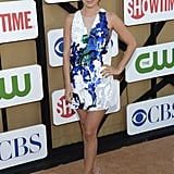 Rachel Bilson wowed in a Summer-worthy 3.1 Phillip Lim embellished mini and metallic Brian Atwood heels.
