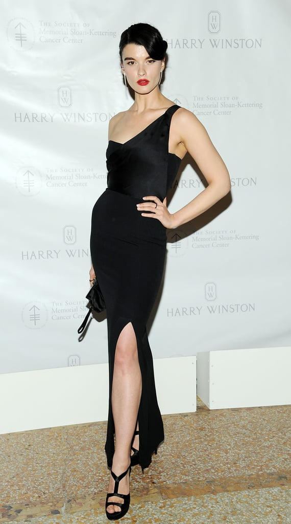 Crystal Renn wowed in a one-shoulder black evening gown for the Memorial Sloan-Kettering Cancer Center's annual Spring ball.