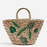 Monkey Embroidered Straw Tote Bag